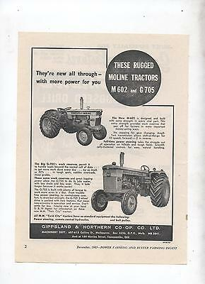 Moline M 602 G705 Tractor Advertisement removed from 1963 Farming Magazine