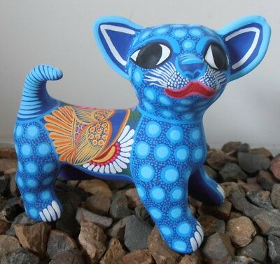 Handpainted clay CHIHUAHUA Figurine LGE accessory pottery DOG ornament Mexican