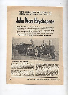 John Deere  Hay Chopper Advertisement removed from 1953 Farming Magazine