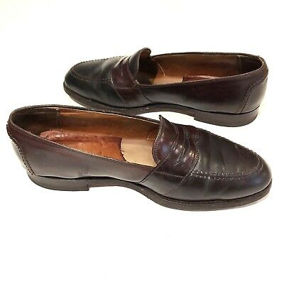 1b42be77526f4 Brooks Brothers Shell Cordovan Shoes Alden Mens 9.5 E Penny Loafers Vintage  762