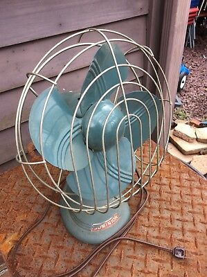 Vtg Art Deco 1950s Dominion Turquoise Electric Fan - No. 5206 - Works -Very Nice