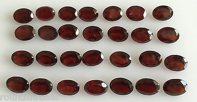 41.76 Ct 28 Pc Natural Orangy Red Garnet Loose Lot Gemstones Oval Cut 8 X 6 Mm