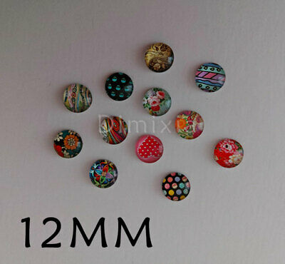 Fashion Style Handmade Cameo Earring Pendant 12mm Round Cabochon Glass 1.2cm DIY