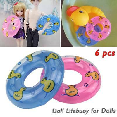 6PC Baby Bath Mini Swim Ring Summer Swimming Pool Float Lifebuoy For Barbie Doll