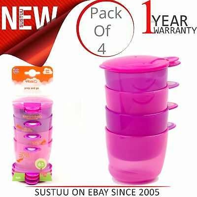 Vital Baby Prep and Go Baby/Kid's Food Pots│Microwave & Dishwasher Safe│Pink│+6m