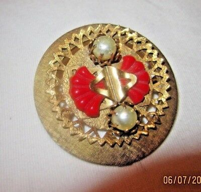 Stunning Antique VTG Brooch Pin Gold-tone Pearl Signed High End Estate Piece