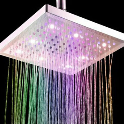 7 Colors LED Auto Changing Shower Square Head Light Home Water Bathroom Rain
