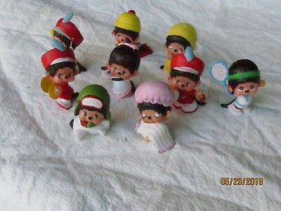 """Lot of 9 Different Monchichi Plastic Figures Figurines 2 1/4"""" Tall Excellent"""
