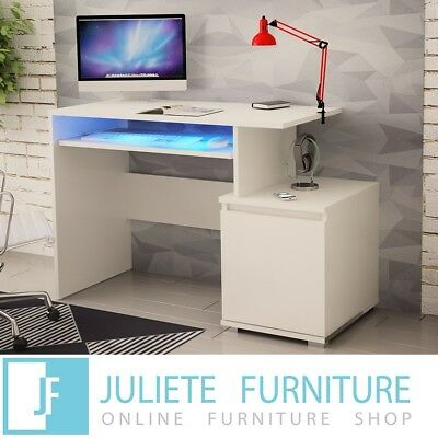 White Desk Computer Table Black Office PC Home 120 Shelf LED FREE SHIPPING 115cm