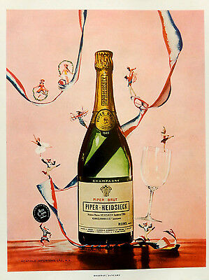 Vintage 1957 Piper Heidsieck Brut Champagne party advertisement print ad art