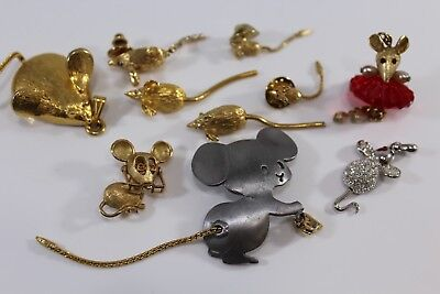 Vintage Brooches Pendants Pin Lot of 10 Mice Mouse signed  Mimi di N AVON UNIQUE