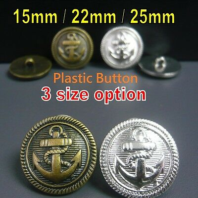 Metal Look Anchor Embossed Sailor Military Shield Plastic Buttons Shank On Back
