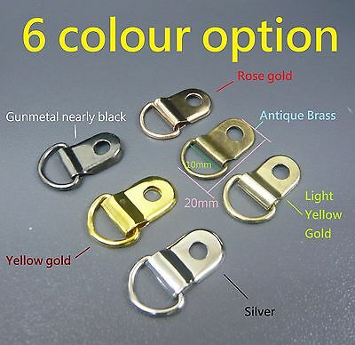 Metal D-Ring Picture Framing Rings with Lugs Size 20mm x 13mm Frame Hooks Fixing
