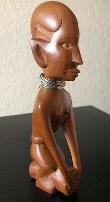 "Vintage Hand Carved Wood Statue 8"" of African Tribal Woman Silver Wire Necklace"