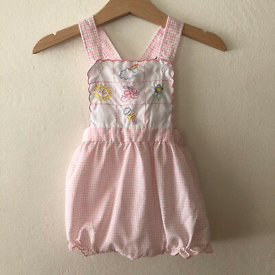 Vintage Baby Girls Pinafore Bubble Romper Size 6 - 9 Months
