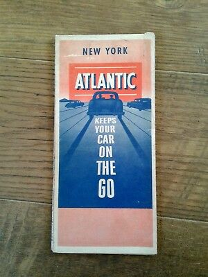 Vintage New York State Map by The Atlantic Refining Company