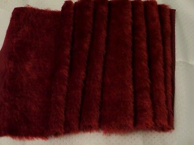 """NWT 1/3 yd Intercal Mohair Fur Fabric 567S Wine 5/8"""" sparse mohair w/S-finish"""