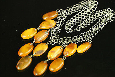 NATURAL OLD Antique 41. g Butterscotch Egg Yolk Baltic Amber Stone NECKLACE B242