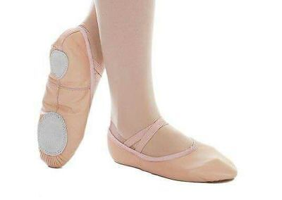 Pink leather ballet shoes Split Sole