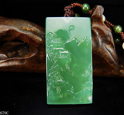 100% Natural Hand-carved Chinese Jade Pendant jadeite Necklace scenery 679C