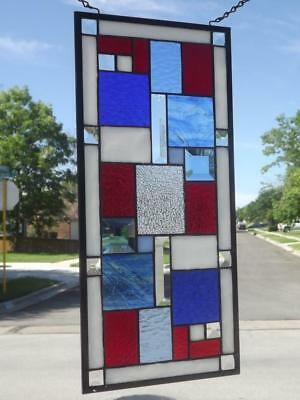"""•Red, White and Blue •Beveled Stained Glass Window Panel • 20 ½"""" x9 ½"""""""
