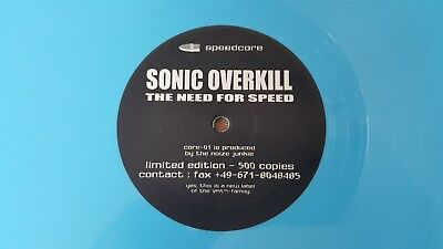 """12"""" Sonic Overkill """"The need for speed"""", Speedcore/Hardcore 1996, Limited 500"""