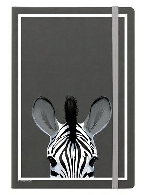 Inquisitive Creatures Zebra A5 Hard Cover Grey Notebook 14 x 21cm