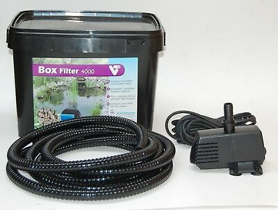 Gartenteichfilter Teichfilter Set mit Filter Pumpe Schlauch optional mit UVC