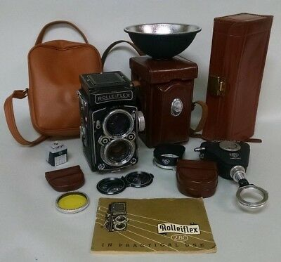 Vintage Rollei Rolleiflex 2.8C Camera W/ Ising Tripod Manual & Accessories Camer
