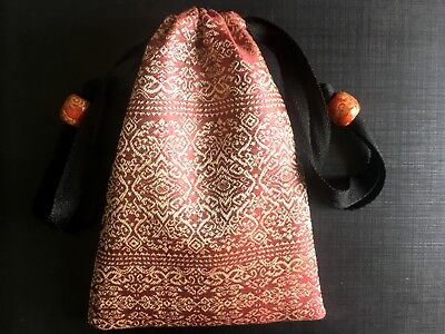 Handmade Thai Gold Silk Tarot Pouch Bag Dice Pouch Jewelry Bag With Drawstring