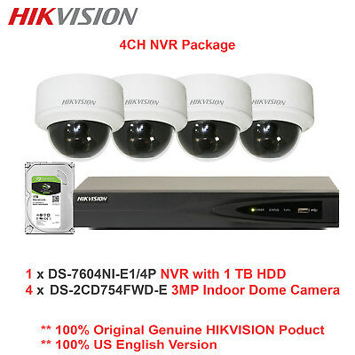 Hikvision-USA 4CH 5MP NVR + 4 x 3MP DS-2CD754FWD-E WDR Dome Package/IK10/1TB HDD