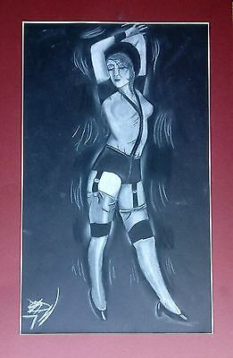 """Woman Dancing in Stockings 11.75"""" x 19.25"""" Charcoal & Graphite Drawing  - Unique"""