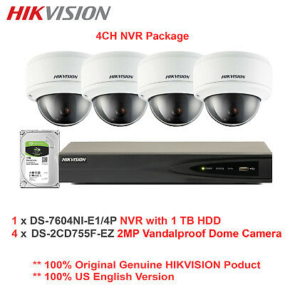 Hikvision-USA 4CH 1080P NVR Package +4 x 2MP Vandal Dome Camera/Motorized VF/1TB
