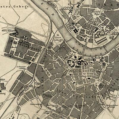 Dresden Germany urban 1873 detailed old city plan map w/ key