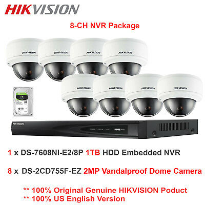 Hikvision-USA 8CH 1080P NVR Package + 8 x 2MP 1080P Vandal IP Dome/Motorized/1TB