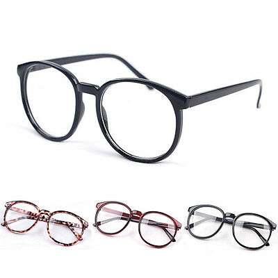Vintage Unisex Men Women Round Metal Frame Clear lens Retro Geek Glasses New`^