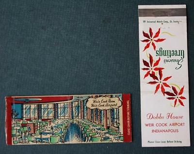 1940-50s Indianapolis,Indiana Weir Cook Airport Restaurant 2-TWO matchbook set!