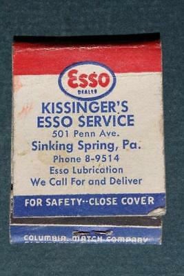 1940-50s Era Sinking Spring,Pennsylvania Esso Gas & Oil Station matchbook cover!