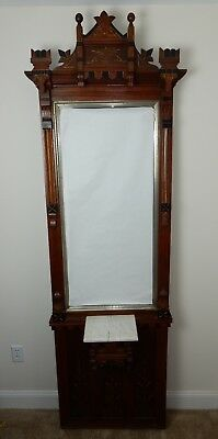Antique 19th century Inticrately carved Eastlake Hall Stand Mirror 85""