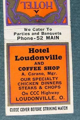 1930-40s Era Loudonville,Ohio Hotel & Coffee Shop matchbook-ON CCC Highway-RARE!