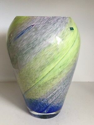 Large Caithness Blue, Yellow & Pale Green Fleck Swirl Art Glass Urn Vase