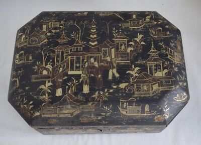 Large Antique 19th Century Chinese Lacquered Wood Sewing Box Rare