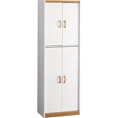 Engineered Wood 72'' Kitchen Pantry Cabinet with 5 Doors and 5 Shelves, White/Me