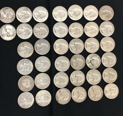 38 Quarters- 1964 Silver quarter.- Last year made in silver.