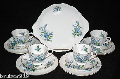 FORGET ME NOT Royal Albert 13 Pc Set TEA Cup & Saucer TRIO's HANDLED CAKE PLATE