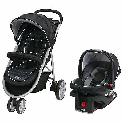 Graco Aire3 Click Connect Travel System, Gotham *MISSING LAP TRAY/CUP HOLDERS*