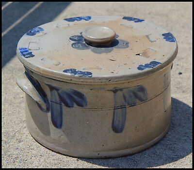 Blue Decorated 19th Century Cake Crock and Lid.  Mid Atlantic Region