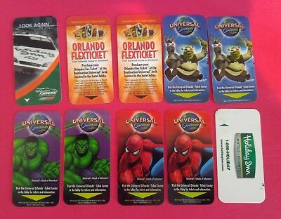 Lot (10) - Orlando Hotel Room Key Cards - Incudes Theme Park Subject -Nice