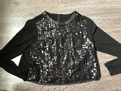 a296c4ba38ae Rag And Bone Sequin Black Long Sheer Sleeve Crop Top Blouse Leather Lining  Med.