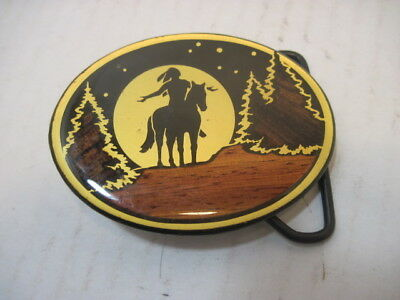 Old Brass Indian Horse Belt Buckle Clothing